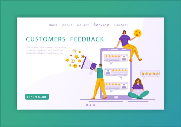Client feedback concept landing page template, miniature tiny people and giant phone, web banner with place for text