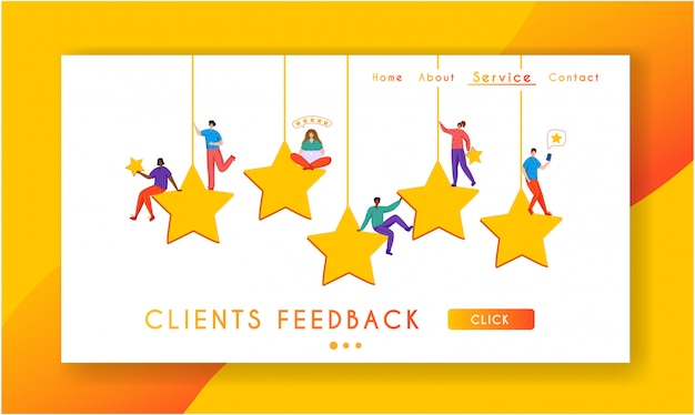 Client feedback concept landing page, tiny people and giant rating stars
