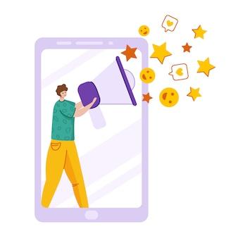 クライアントフィードバックの概念、話すトランペット、星、いいね-顧客レビューとフィードバック、オンラインサービスを持つ男