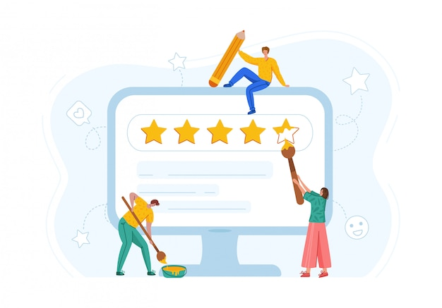Client feedback concept - people paiting rating stars on computer screen, online service