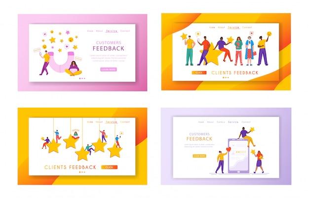 クライアントフィードバックランディングページセット-小さな人と巨大な評価の星、ガジェット、コピースペース付きのwebバナー