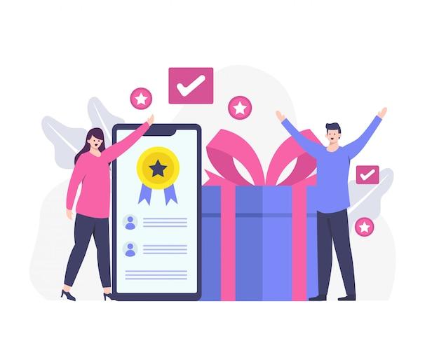 クライアントのフィードバックまたは満足のいく顧客レビューと報酬の概念。