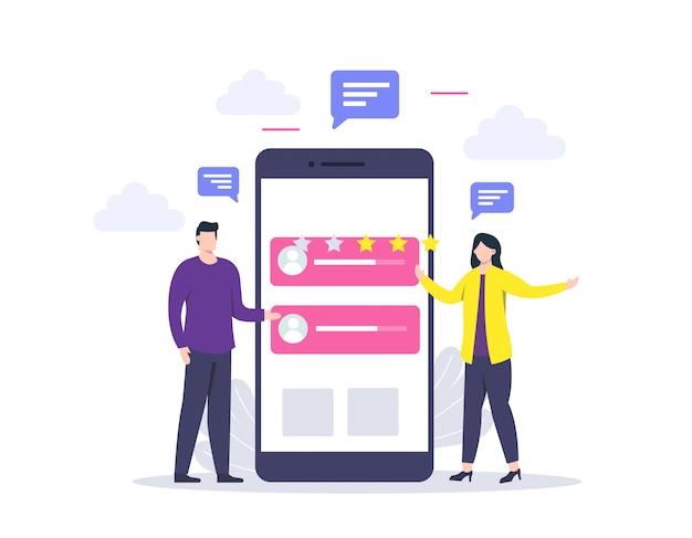クライアントのフィードバックまたはレビューの概念とオンラインサービスの評価、顧客満足度