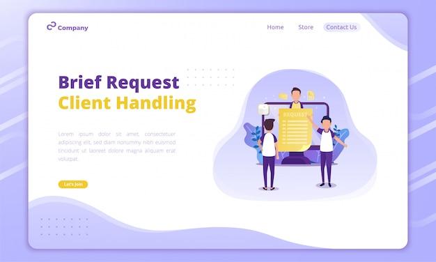 ランディングページの創造的なビジネスコンセプトのクライアントイラスト処理チームイラスト