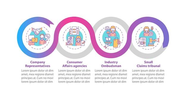 Инфографический шаблон средства защиты клиентов. элементы дизайна презентации представителей компании.