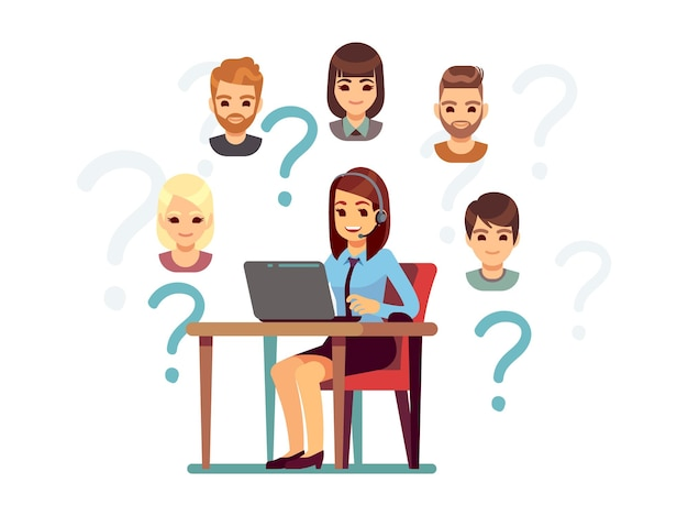 Client support. call center operator, customers and manager. woman answered on phone, help center for people vector illustration. support and help customer, operator communication center