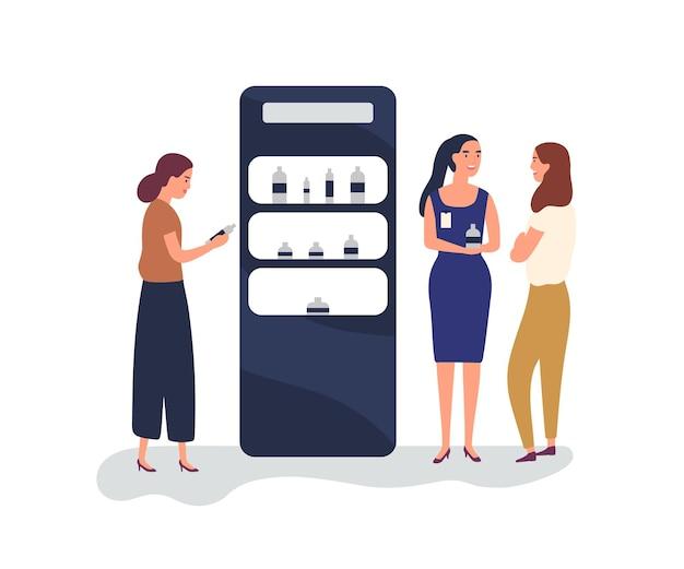 화장품 전시회의 고객과 발기인은 평평한 벡터 삽화를 포장합니다. 판촉 스탠드 근처 판매원 컨설팅 고객입니다. 여성들은 흰색으로 구분된 화장품 만화 캐릭터를 선택합니다.