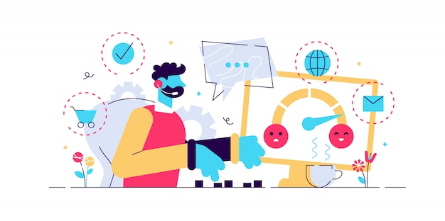 고객 지원, 콜센터, 핫라인 운영자, 컨설턴트 관리자. 고객 관리, 완벽하고 개인화 된 서비스, 고객 경험 개념. 핑크 산호 블루 고립 된 그림