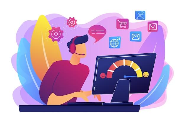 고객 지원, 콜 센터, 핫라인 운영자, 컨설턴트 관리자. 고객 관리, 원활하고 개인화 된 서비스, 고객 경험 개념.