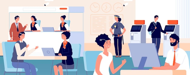 Clients in bank office. modern finance service department, face id identification. customers and banking credit managers vector illustration. office bank department, service finance interior