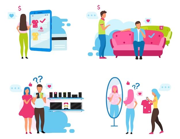 Clients choosing goods flat illustrations set. customers in clothing shop, appliance and furniture store cartoon characters. online shopping. consumers buying products, buyers making purchases