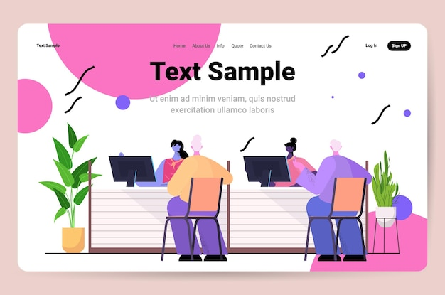 Clients and consultants in modern bank assistants offering banking products to customers banking concept consulting center interior horizontal copy space vector illustration