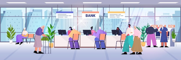 Clients and consultants in modern bank assistants offering banking products to customers banking concept consulting center interior horizontal vector illustration