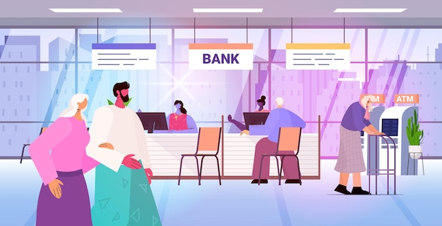 Clients and consultants in modern bank assistants offering banking products to customers banking concept