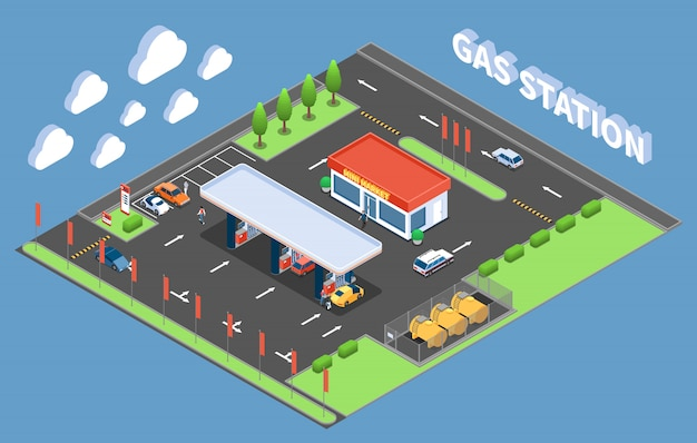 Clients at gas station with store isometric building composition vector illustration