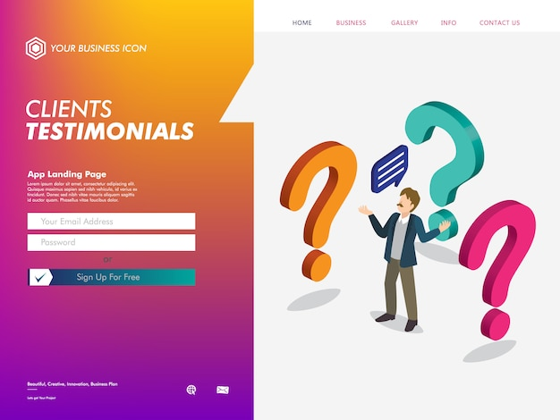 Clients testimonial website landing page template