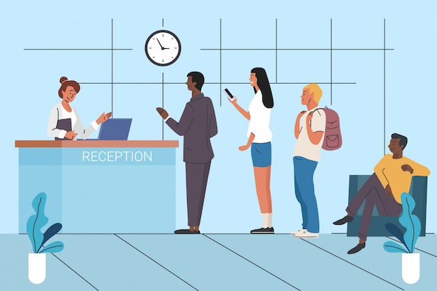 Clients waiting in queue flat vector illustration