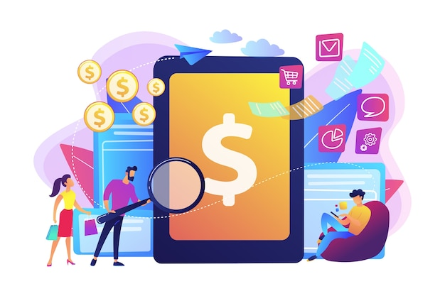 Clients with magnifier get e-invoicing and pay bills online. e-invoicing service, electronic invoicing, e-billing system and e-economy tools concept.