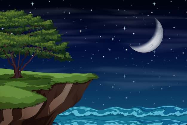 A cliff landscape at night