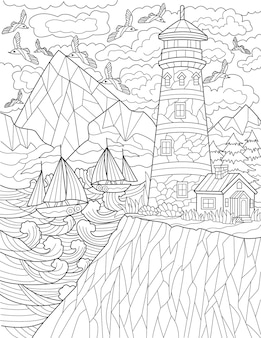Cliff with lighthouse with multiple flying birds and boats sailing colorless line drawing guiding