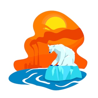 気候変動2dウェブバナー、ポスター。工場排出量。ホッキョクグマの絶滅。漫画の背景に北極の平らな風景の融解。地球温暖化の印刷可能なパッチ、カラフルなウェブ要素