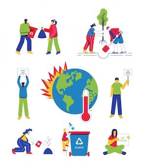 気候変動の概念。地球温暖化、山火事、気候変動に抗議する人々、廃棄物の分別、植林。