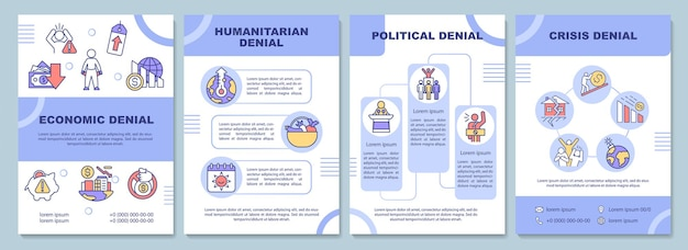 Climate change denial brochure template. political, crisis negation. flyer, booklet, leaflet print, cover design with linear icons. vector layouts for presentation, annual reports, advertisement pages
