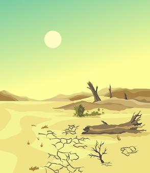 Climate change desertification illustration. global environmental problems.