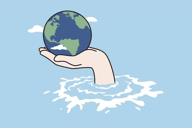 기후 변화, 재난, 절약 개념. 벡터 삽화를 돕기 위해 돌보는 기후 홍수 바다 위의 세계 또는 지구를 들고 있는 인간의 손