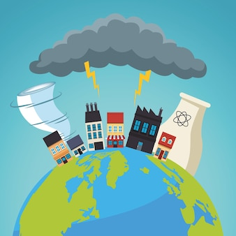 Climate change effect city scape scene in earth planet and storm electric  illustration