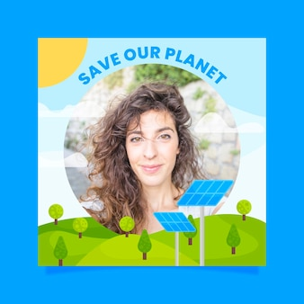 Climate change facebook frame Free Vector