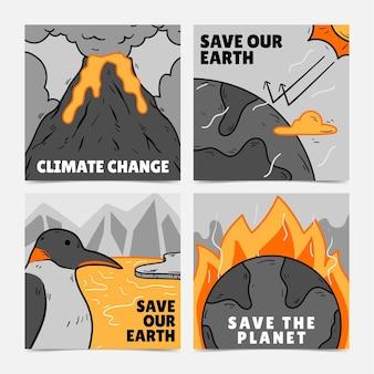 Pacchetto post instagram sul cambiamento climatico