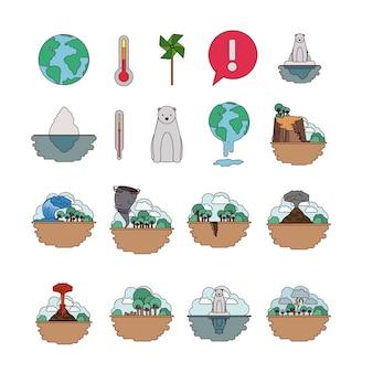 Climate change set icons