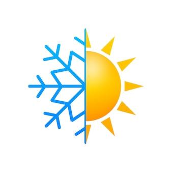 기후 변화. 태양과 눈송이의 상징입니다. 벡터 재고 일러스트 레이 션