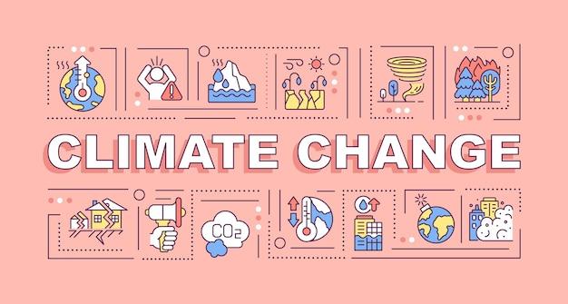 기후 변화 단어 개념 배너입니다. 환경 재해. 분홍색 배경에 선형 아이콘이 있는 인포 그래픽입니다. 고립 된 창조적 인 인쇄술. 텍스트와 벡터 개요 컬러 일러스트