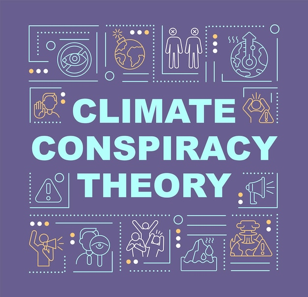 Climate conspiracy theory and green scam word concepts banner. infographics with linear icons on purple background. isolated creative typography. vector outline color illustration with text