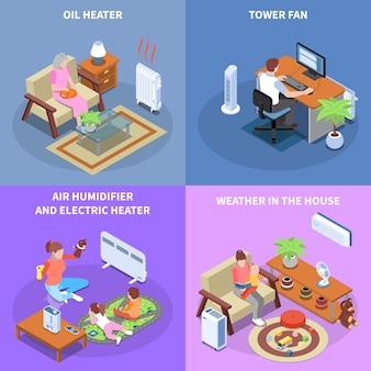 Климат-контроль 2x2 концепция дизайна с домашним оборудованием, используемым для создания комфортной погоды в доме изометрии
