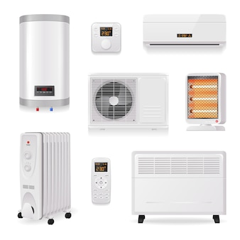 Climate control equipment realistic set with air conditioning symbols isolated  illustration