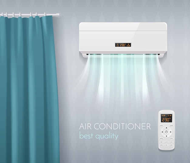 Climate control poster with air conditioning technology symbols realistic  illustration