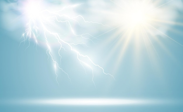 구름을 통해 빛나는 태양과 번개의 기후 그리기 프리미엄 벡터