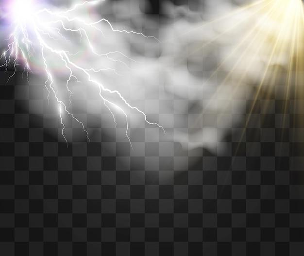 구름을 통해 빛나는 태양과 번개의 기후 그리기