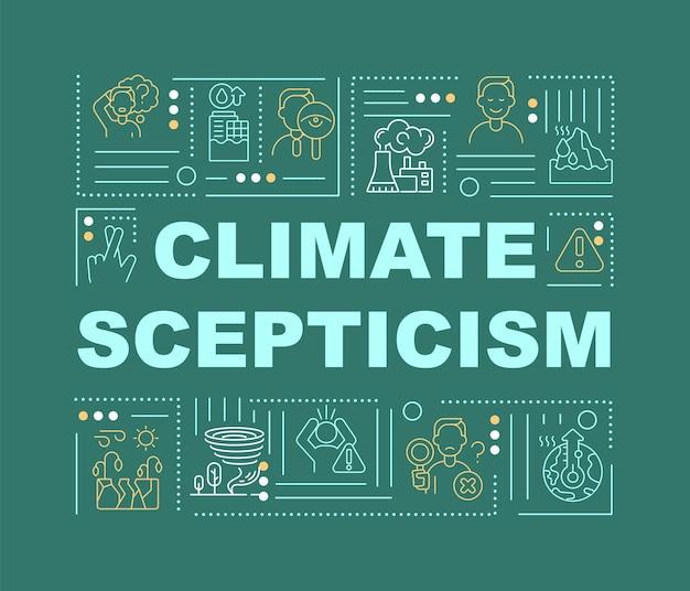기후 회의론과 재해 단어 개념 배너