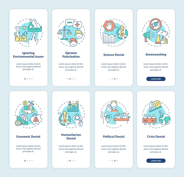 Climate skepticism and conspiracy onboarding mobile app page screen set. green sheen walkthrough 4 steps graphic instructions with concepts. ui, ux, gui vector template with linear color illustrations