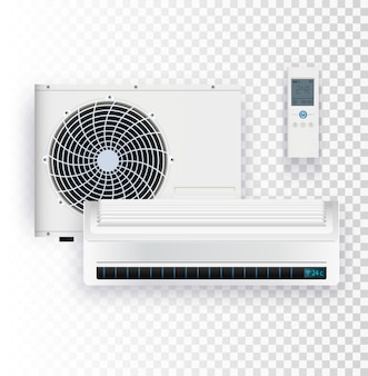 에어컨의 실외 및 실내 장치 벡터 일러스트와 함께 기후 시스템
