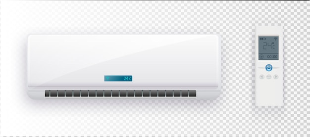 Climate system with vector illustration of air conditioner vector air conditioner on transparent bac...