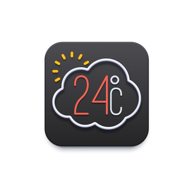 Climate and weather icon, app or mobile ui template, vector temperature forecast. weather widget for phone screen or application interface and ux flat symbol with sun, cloud and temperature