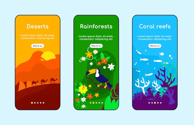 Climate zones onboarding mobile app screen flat template. arabian desert. amazon rainforest. walkthrough website steps with characters. ux, ui, gui smartphone cartoon interface, case prints set