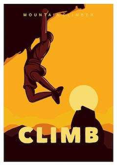 Climb rock climbing illustration