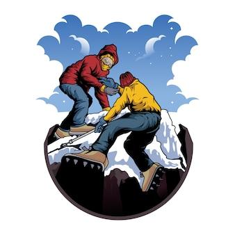Поднимитесь на снежную гору illsustration