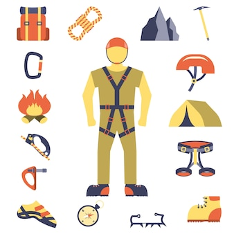 Climber gear equipment icons flat